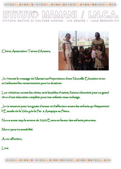 le message de remerciement de l'association de Mamani